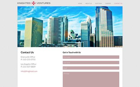 Screenshot of Contact Page knighted.com - Contact Us - Knighted Ventures - captured Oct. 6, 2014