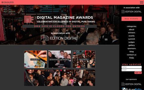 Screenshot of Home Page digitalmagazineawards.com - DMA2015 - digital magazine awards - captured Oct. 1, 2015