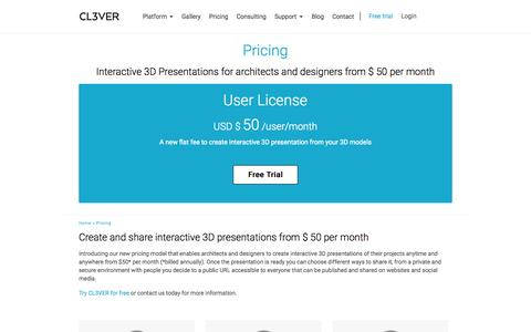 Screenshot of Pricing Page cl3ver.com - Pricing - captured June 16, 2015