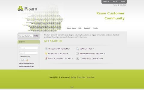 Screenshot of FAQ Page Login Page rsam.com - Rsam - captured Dec. 6, 2016