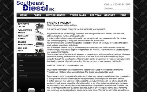 Screenshot of Privacy Page sediesel.com - Privacy Policy - Southeast Diesel Inc.Southeast Diesel Inc. - captured Oct. 18, 2018