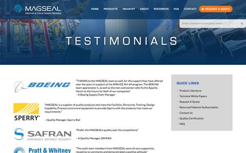 Screenshot of Testimonials Page magseal.com - Testimonials | MAGSEAL - captured Oct. 5, 2017
