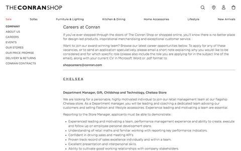 Screenshot of Jobs Page conranshop.co.uk - Careers - The Conran Shop - captured Jan. 4, 2018