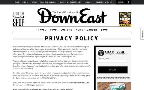Screenshot of Privacy Page downeast.com - Privacy Policy - captured Oct. 12, 2017