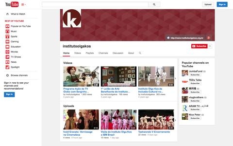 Screenshot of YouTube Page youtube.com - institutoolgakos  - YouTube - captured Oct. 23, 2014