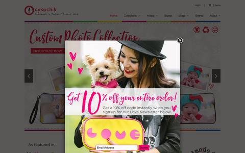 Screenshot of Home Page custom-handbags.com - Cykochik Custom Handbags | Creative + Cruelty-free + Custom | Vegan Handbags - captured Feb. 2, 2016