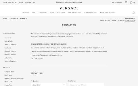 Screenshot of Contact Page versace.com - Customer Care Contacts | Versace US - captured May 17, 2019