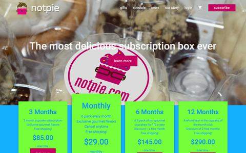 Screenshot of Signup Page notpie.com - Cupcake of the month club subscriptions | NotPie Cakery - captured June 14, 2017