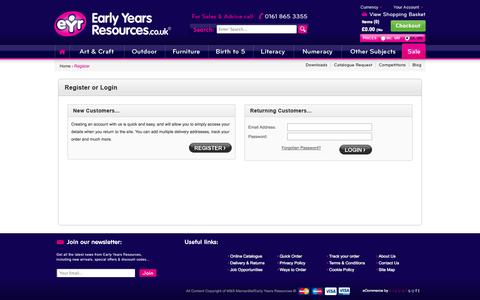 Screenshot of Login Page earlyyearsresources.co.uk - Early Years Resources | Buy Educational Resources | Childrens Learning Materials Online - captured Sept. 29, 2014