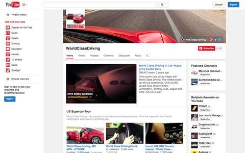 Screenshot of YouTube Page youtube.com - WorldClassDriving  - YouTube - captured Oct. 29, 2014