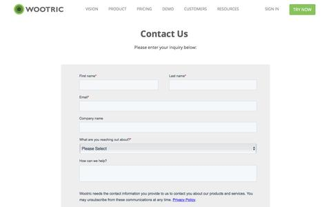 Screenshot of Contact Page wootric.com - Contact Us | Wootric - captured Nov. 17, 2019