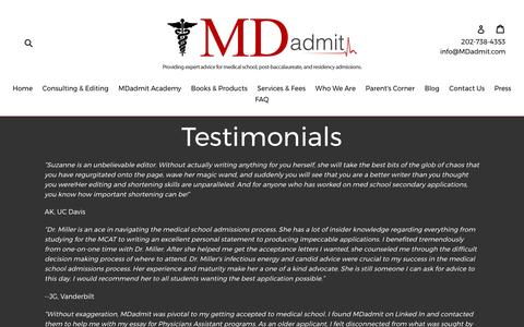 Screenshot of Testimonials Page mdadmit.com - Testimonials                      – MDadmit - captured May 26, 2017