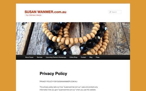 Screenshot of Privacy Page susanwanmer.com.au - Privacy Policy | SUSAN WANMER.com.au - captured Nov. 4, 2014