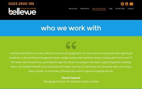 Screenshot of Testimonials Page bellevuepartners.co.uk - Who we work with at Bellevue � The Financial Partnership - captured Dec. 31, 2015