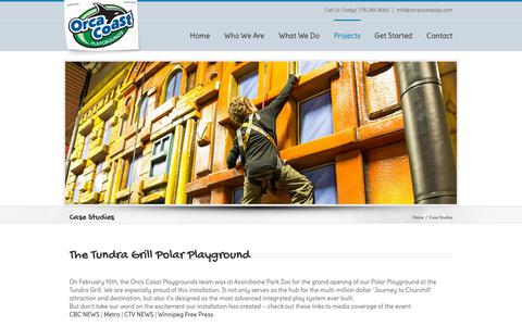 Screenshot of Case Studies Page orcacoastplay.com - Assiniboine Park Tundra Grill Case Study - Orca Coast Playgrounds - captured Oct. 19, 2018
