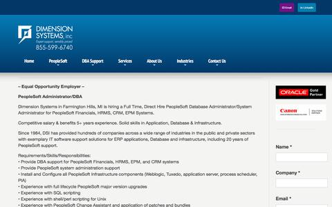 Screenshot of Jobs Page dsisys.com - Careers | Dimension Systems - captured Oct. 12, 2017