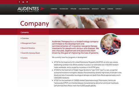 Screenshot of About Page audentestx.com - Company - Audentes Therapeutics - captured Feb. 6, 2016
