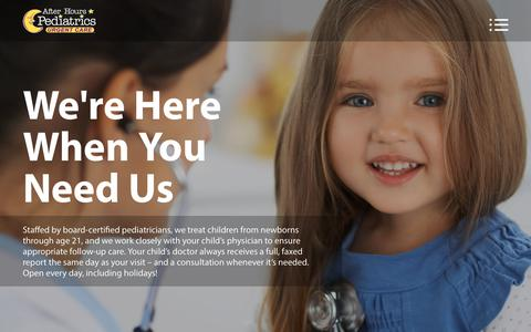 Screenshot of Services Page afterhourspediatrics.com - Pediatric Medical Services | Primary & Emergency Walk-In Care - captured Oct. 3, 2018