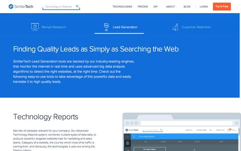 Screenshot of similartech.com - Lead Generation with SimilarTech - captured Jan. 27, 2017