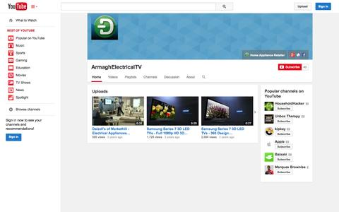 Screenshot of YouTube Page youtube.com - ArmaghElectricalTV  - YouTube - captured Oct. 23, 2014