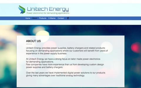 Screenshot of About Page unitechenergy.no - Unitech Energy - Power Supply and Battery Chargers | About - captured Oct. 26, 2017