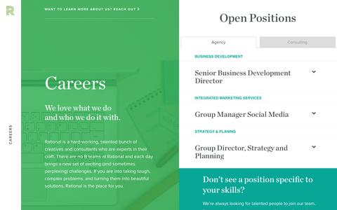 Screenshot of Jobs Page rationalagency.com - Careers - captured June 20, 2018