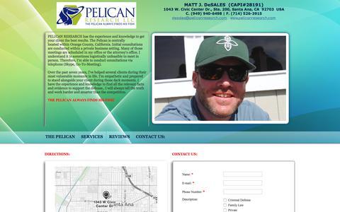 Screenshot of Contact Page pelicanresearch.com - Criminal Defense Investigator, Pelican Research Fullerton, CA CONTACT US: - captured July 7, 2017