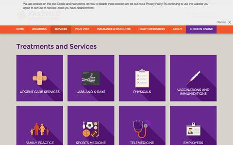Screenshot of Services Page fastmed.com - Treatments & Services | FastMed Urgent Care Centers - captured March 26, 2017