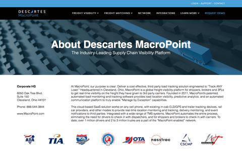 Screenshot of About Page macropoint.com - About Descartes MacroPoint - Real Time Supply Chain Visibility - captured July 11, 2018