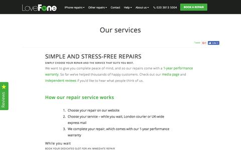 Screenshot of Services Page lovefone.co.uk - Our services - Lovefone, London - captured July 17, 2016
