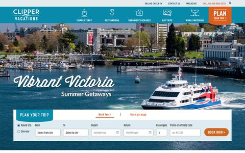 Screenshot of Home Page clippervacations.com - Clipper Vacations | Seattle-Victoria & Seattle-San Juan Island Ferries - captured July 19, 2018