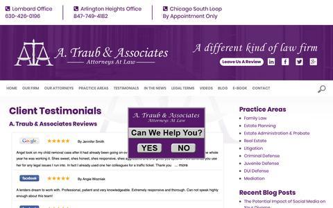 Screenshot of Testimonials Page atclaw.com - Client Testimonials | A Traub & Associates | Lombard, Arlington Heights - captured Sept. 30, 2018