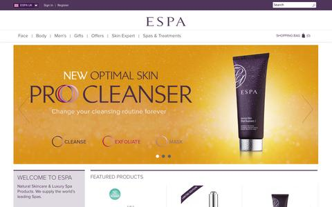 Screenshot of Home Page espaskincare.com - ESPA | Natural Skin Care Products | Luxury Spa Products  | ESPA - captured Sept. 19, 2014