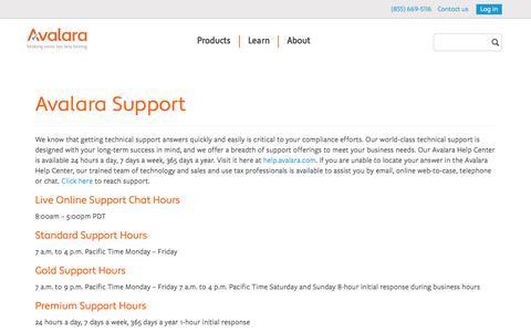 Screenshot of Support Page avalara.com - Avalara Technical Support: rates, setup, management, etc. - captured June 16, 2015