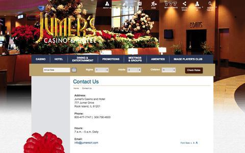 Screenshot of Contact Page jumerscasinohotel.com - Contact Us | Jumer's Casino & Hotel - captured Sept. 30, 2014