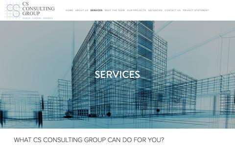 Screenshot of Services Page csconsulting.ie - SERVICES — CS CONSULTING GROUP - captured Sept. 29, 2018