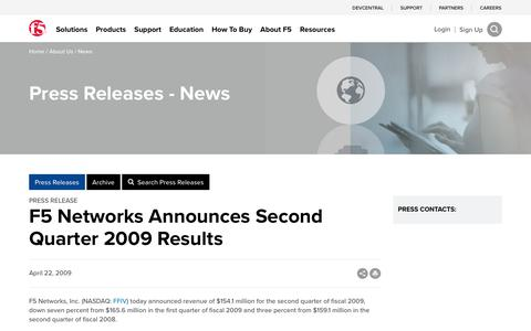 Screenshot of Press Page f5.com - F5 Networks Announces Second Quarter 2009 Results - captured March 8, 2018