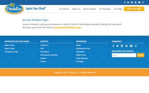 Screenshot of Jobs Page thinkfun.com - Careers - Thinkfun - captured Feb. 1, 2016