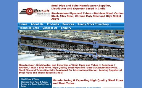 Screenshot of Home Page Site Map Page prosaicsteel.com - Steel Pipes, Seamless Pipes, Seamless Steel Tubes, Seamless Steel Pipe Manufacturer, Seamless Steel Pipe Suppliers, Seamless Steel Pipe Tubes, Stainless, Carbon, Alloy, High Nickel, API Pipes - captured Sept. 19, 2017
