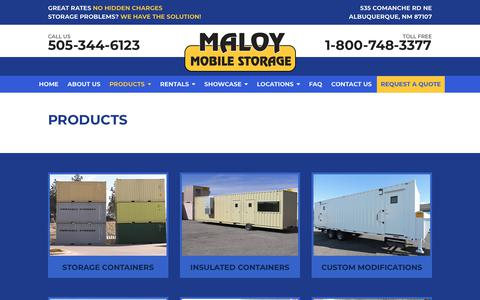 Screenshot of Products Page maloystorage.com - Maloy Mobile Storage | Rent, Lease or Buy Storage Containers - captured Oct. 2, 2018