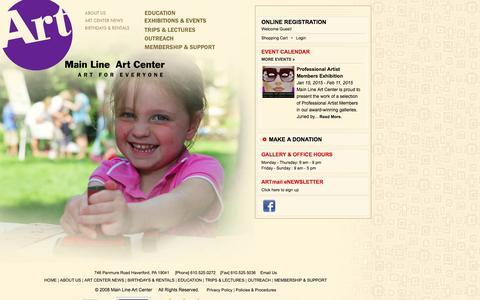 Screenshot of Home Page mainlineart.org - Main Line Art Center - captured Jan. 23, 2015