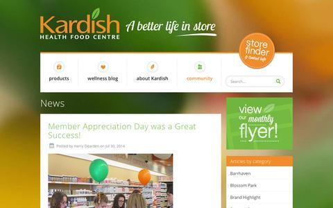 Screenshot of Press Page kardish.com - News - Kardish Health Food Centre - captured Oct. 6, 2014
