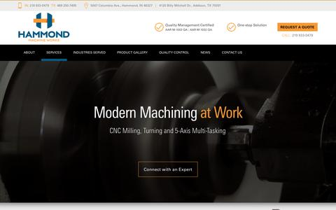 Screenshot of Services Page hammondmachine.com - CNC Machining & Turning Services - Hammond Machine Works - captured July 15, 2017