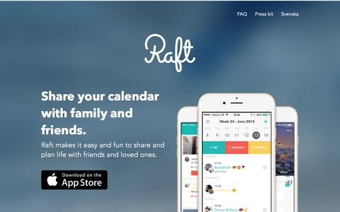 Screenshot of Home Page joinraft.com - Raft - Calendar with friends - captured Jan. 26, 2016