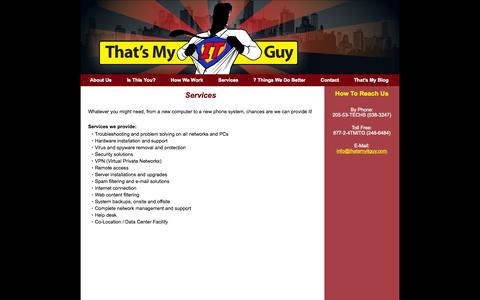Screenshot of Services Page thatsmyitguy.com - Business Computer Services Birmingham, AL :: Tech Support :: Managed IT Services :: IT Support :: Thats My IT Guy   Services - captured Sept. 30, 2014