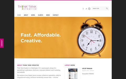 Screenshot of Home Page creativebythinktank.com - Think Tank Creative   Innovation   Creativity   Design - captured Oct. 7, 2014