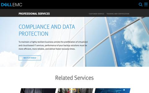 Screenshot of Services Page dellemc.com - Compliance and Data Protection | Dell EMC US - captured Feb. 5, 2018