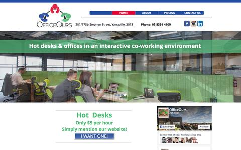 Screenshot of Home Page officeours.com.au - OfficeOurs - Melbourne co-working, hot desks, serviced offices - captured Feb. 22, 2016