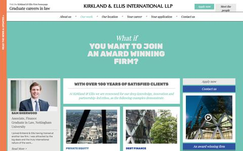 Screenshot of Case Studies Page kirkland.com - With over 100 years of satisfied clients - captured July 15, 2019