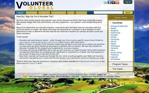 Screenshot of FAQ Page volunteerglobal.com - How Do I Sign Up For A Volunteer Trip? | Volunteer Global - captured Aug. 14, 2016